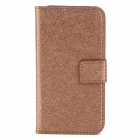 Protective Silk Muster PU-Leder Flip Open Case für iPhone 4 / 4S - Kaffee