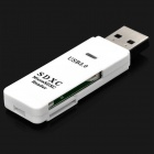 Mini Portable High Speed USB 3.0 to TF / Micro SDSlot Card Reader - White (128GB Max.)