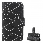 Leaf Pattern Protective Rhinestone + PU Leather Case for iPhone 4 / 4S - Black
