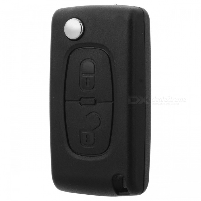 AML031386 Replacement 2-Button Folding Remote Control Key Case for Citroen / Peugeot - Black