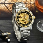 MCE 01-0060061 Fashionable Skeleton Dial Analog Automatic Mechanical Wrist Watch - Golden + Silver