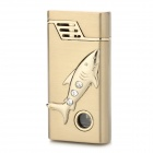 AOMAI AM-136 Rhinestone Fish Pattern Windproof Butane Gas Jet Lighter - Golden