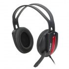 OVLENG S555 Stylish Universal 3.5mm Jack Wired Headset w/ Microphone for PC - Black + Red