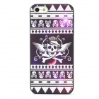 Noctilucence Skull Pattern Protective Plastic Case for iPhone 5 - Black + White