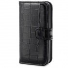 Protective Alligator Pattern PU Leather Flip Open Case for Iphone 4 / 4S - Black
