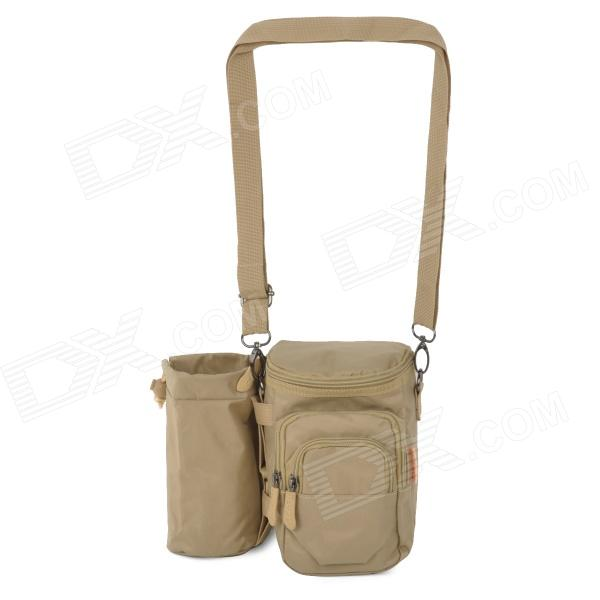 Outdoor Nylon Water Bottle Carrying Shoulder Bag - Light Brown
