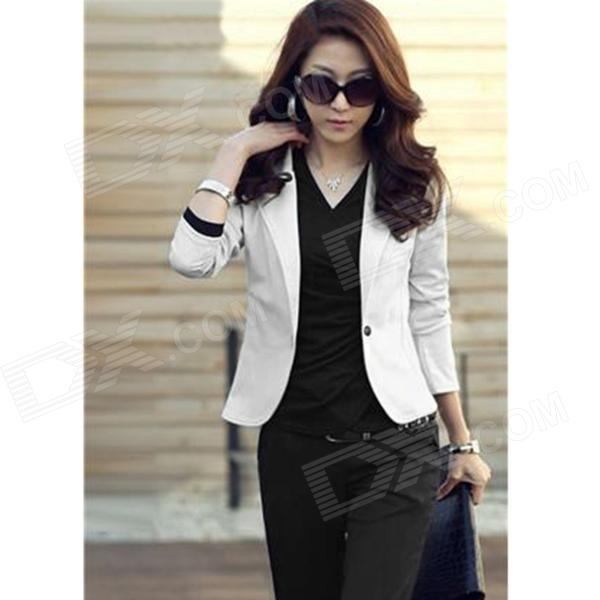 YLY-2061-101 Fashion Slim Blazer for Women - White (Size XL)