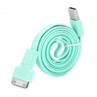 USB 2.0 auf 30-Pin / Micro USB Data / Laden Flachkabel für iPhone 4 / 4S / Handy - Blau