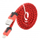 USB-zu-8-Pin Blitz Data / Laden Woven Nylon-Kabel für iPhone 5 / iPad Mini / 4 - Red