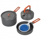 FireMaple Outdoor Camping Aluminum Alloy Cooking Pan Pot + + Bowl Set - Grau + Orange