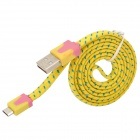 Micro USB Male to USB Male Data Charging Nylon Cable for Samsung / HTC - Yellow + Blue (98cm)