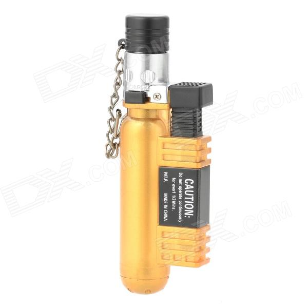 AOMAI AM-136 Windproof Butane Gas Jet Lighter - Golden Yellow + Silver horizontal stripe pattern butane gas lighter w keychain silver yellow