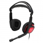 OVLENG S666 Stylish Universal 3.5mm Jack Wired Headset w/ Microphone for PC - Black + Red