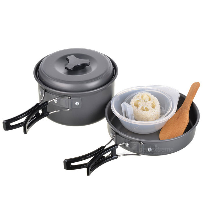 Portable Outdoor Camping Cooking Pot Set - Black Grey (2~3 People)Cooking Stove And Hardware<br>BrandN/A ModelN/AQuantity1 ColorBlack greyMaterialAluminum alloy FunctionsOutdoor camping cooking Liquid capacityNo CertificationCE Other FeaturesIt is made of ultra-light aluminum; With high quality and hard oxidation treatment surface; Anti-corrosion, is able to bear friction; Suitable for picnic with 2~3 people Packing List1 x Cauldron1 x Pot1 x Frying pan1 x Spoon3 x Bowls1 x Wooden spatula1 x Cleaning cloth1 x Bag<br>