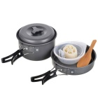 RT-203 Portable Outdoor Camping Cooking Pot Set - Grey + Orange (2~3 People)