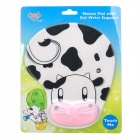 Cute Cartoon Cow Style Mouse Pad w/ Soft Wrist Rest - White + Black + Pink
