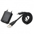 USB Male to Micro USB Male Data Sync & Charging Cable w/ EU Plug Power Adapter - Black (95cm)