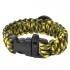 Outdoor Sports Nylon Survival Paracord Bracelet w/ Compass - Yellow + Black