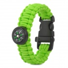 Outdoor Sports Nylon Survival Paracord Bracelet w/ Compass - Green + Black
