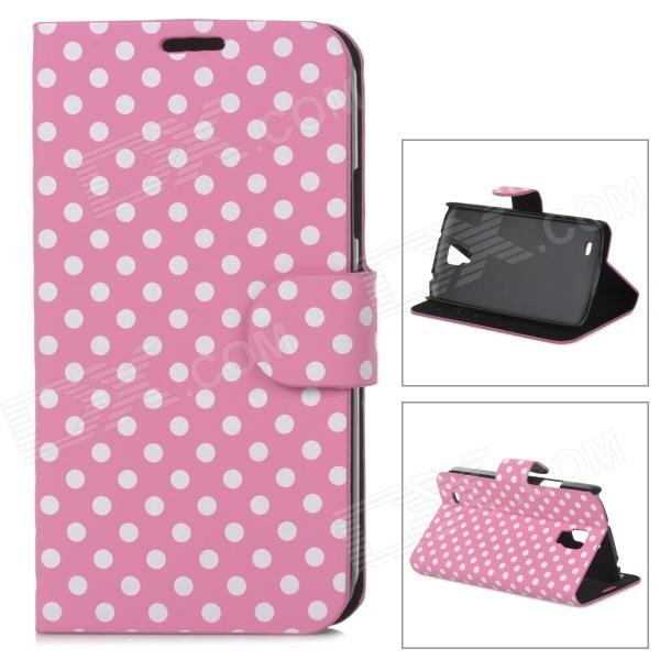 Dot Pattern Stylish Flip-Open PU Leather Stand Case w/ Card Slots for Samsung i9295 - Pink + White stylish pattern protective flip open pu leather case w stand card slots for iphone 6 4 7 white