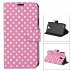 Dot Pattern Stylish Flip-Open PU Leather Stand Case w/ Card Slots for Samsung i9295 - Pink + White