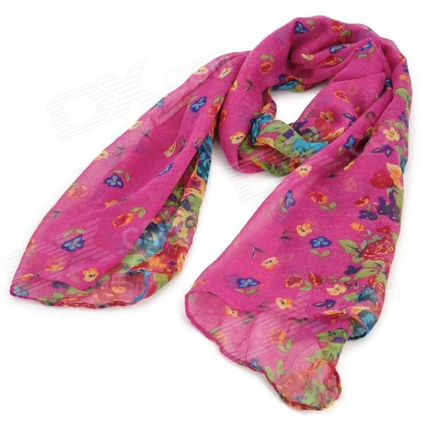 Fashionable Floral Pattern Yarn Scarf Muffler Cappa - Deep Pink blade scout cx