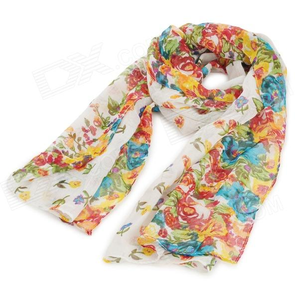 Fashionable Floral Pattern Yarn Scarf Muffler Cappa - White + Multicolored