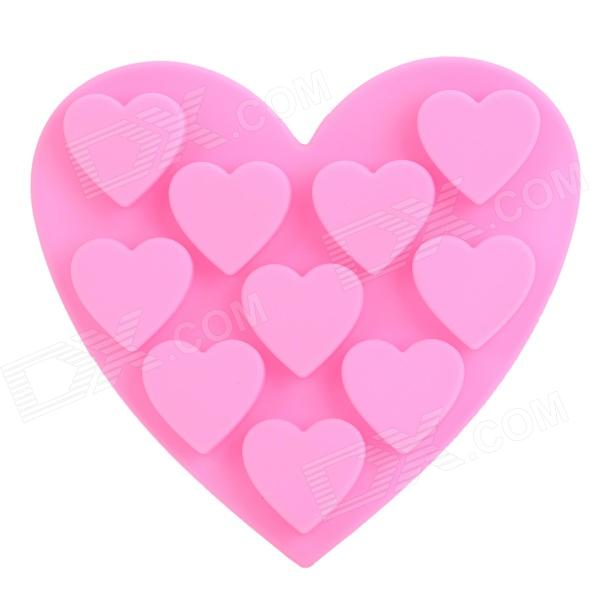 GEL62808 Heart Style 10-Component Ice Cubes Silicone Trays Maker DIY Mould - Pink silicone skeleton shaped ice cubes trays maker diy mould random color
