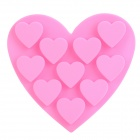 GEL62808 Heart Style 10-Component Ice Cubes Silicone Trays Maker DIY Mould - Pink