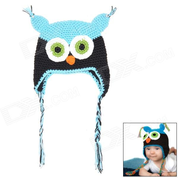 Owl Style Male Baby's Organic Cotton Knitting Warm Hat w/ Earflaps - Blue + Black + White + Green