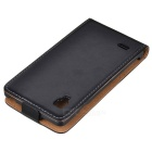Protective Leather PU Top flip aberto Case for LG P760 (Optimus L9) - Black