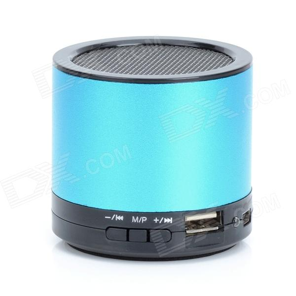HS-X2 Rechargeable Aluminum Alloy Media Player Speaker w/ USB 2.0 / TF / FM - Blue + Black