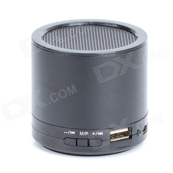 HS-X2 Rechargeable Aluminum Alloy Media Player Speaker w/ USB 2.0 / TF / FM - Black