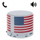 HX-S10 USA Style Portable Bluetooth V2.1 Speaker w/ TF / Mic / AUX Input - Red + Black + White
