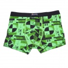 Soft Breathable Modal Fabric + Cotton Men's Boxers Underwear - Green (Free Size)