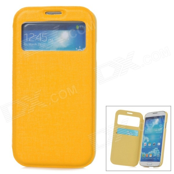 Stylish Protective PU Leather Case w/ Display Window for Samsung Galaxy S4 i9500 - Yellow protective pu leather case w display window plastic back case for samsung i9500 dark blue