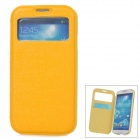 Stylish Protective PU Leather Case w/ Display Window for Samsung Galaxy S4 i9500 - Yellow