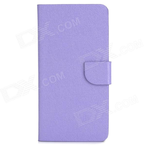 Protective PU Leather Flip Open Case for HTC M7 MiNi M4 - Purple genuine leather protective flip open case for htc one m7 black