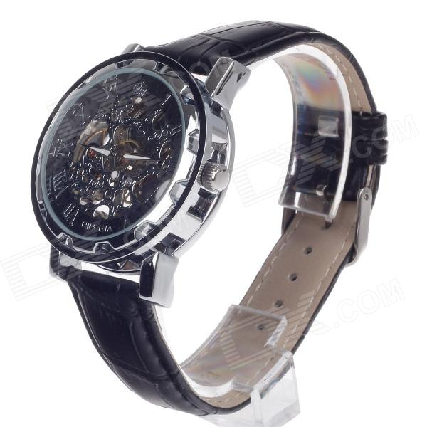 ORKINA KC023 Double-Side Hollow Style Automatic Mechanical Analog Men's Wrist Watch - Black + Silver