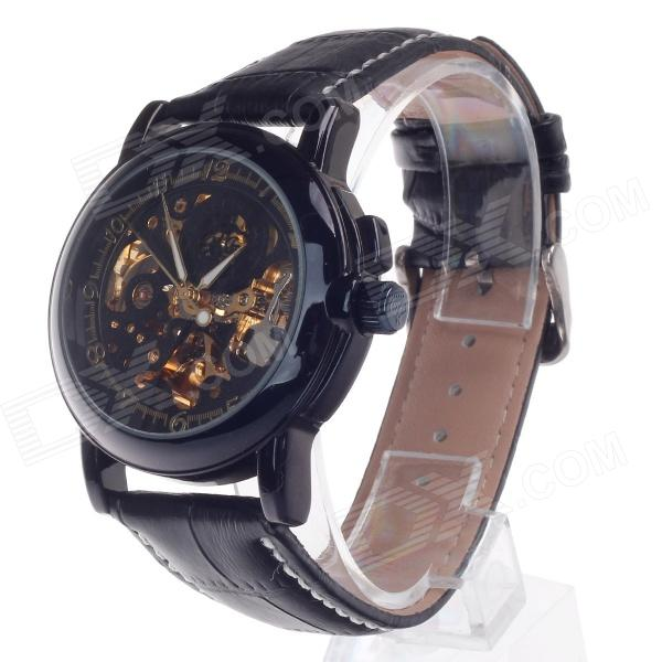 ORKINA MG015 Double-Sided Hollow Style Automatic Mechanical Men's Wrist Watch - Black + Golden