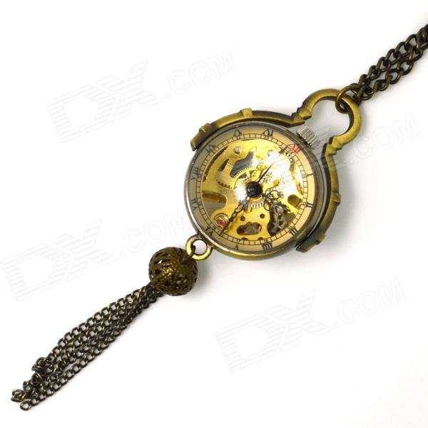 Retro Zinc Alloy Mechanical Watch Dial Chain + Pointer Pocket Watch / Decorative Necklace - Bronze 4 design bronze vintage quartz pocket watch free mason sword art online gear necklace pendant chain womens mens gifts p1123
