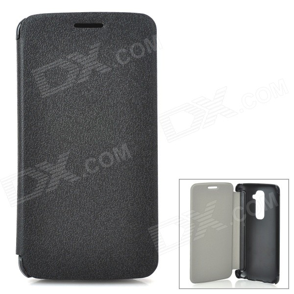 Protective PU Leather Flip Open Case for LG Optimus G2 - Black protective flip open pu leather case for lg optimus g2 d802 f320 black