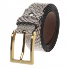 T.acttion T-830 Stylish Snake Pattern Cow Split Leather Women's Belt w/ Zinc Alloy Buckle - Apricot