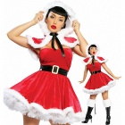 Santa Claus Role Christmas Outfit Cloak for Women - Red + White (Free Size)