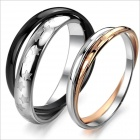 Stars Pattern Double-Layer Titanium Steel Couple Rings - Black + Silver + Golden (US Size 9 + 7)