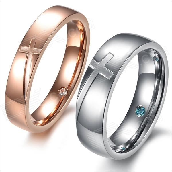 Cross Style Titanium Steel Couple Rings w/ Rhinestone - Golden + Silver (US Size 9 + 7 / Pair)