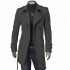 Men's Double-Breasted Cloth Coat - Grey (Size-XL)