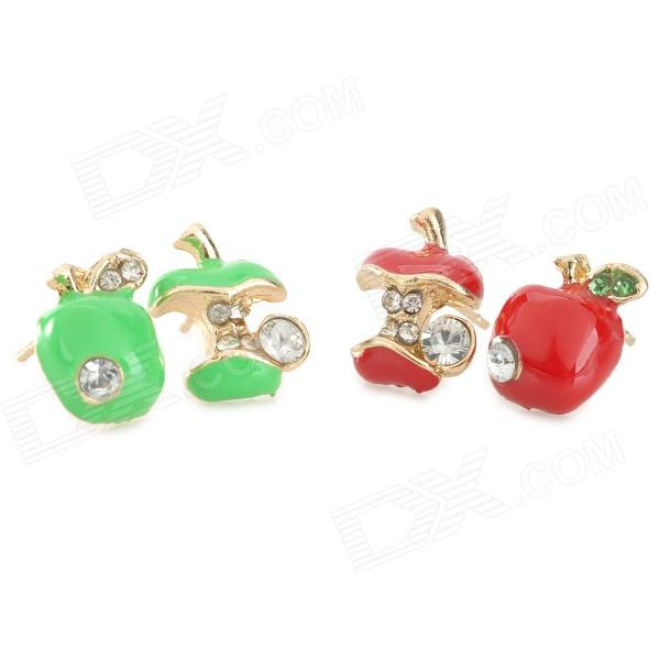 где купить Woman's Stylish Fashionable Shiny Crystal Inlaid Apple Style Earrings - Green + Red (2 Pairs) дешево
