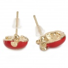 Woman's Stylish Fashionable Shiny Crystal Inlaid Apple Style Earrings - Green + Red (2 Pairs)