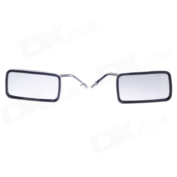 QC-M-Prince Universal 0.8mm Motorcycle Rearview Mirror - Silver + Black (Pair)